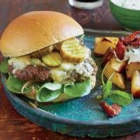 Garlic-Sherry Burgers with Stilton & Pub Browns with Horseradish Sauce | http://www.rachaelraymag.com/recipes/rachael-ray-magazine-recipe-search/rachael-ray-30-minute-meals/garlic-sherry-burgers-with-stilton----pub-browns-with-horseradish-sauce