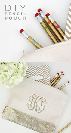 Customize your childrens' school supplies with this fun DIY Monogram Pencil Bag. Whether they choose gold, pink, or turquoise, it's sure to get them excited for going back to school.