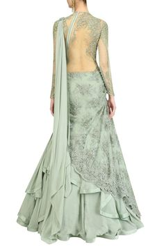 Gaurav Gupta presents Apple green embroidered lehenga sari available only at Pernia's Pop Up Shop. Indian Gowns Dresses, Pakistani Dresses, Indian Attire, Indian Outfits, Indian Designer Outfits, Designer Dresses, Saree Gown, Indian Look, Indian Bridal Fashion