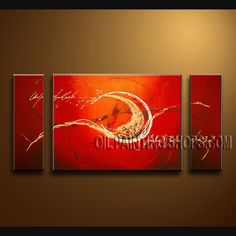 Amazing Modern Abstract Painting Oil Painting On Canvas Panels Gallery Stretched Abstract. This 3 panels canvas wall art is hand painted by Bo Yi Art Studio, instock - $154. To see more, visit OilPaintingShops.com