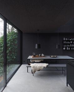 Black painted modern minimalist kitchen