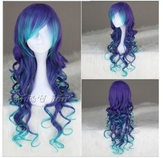 Synthetic None-lacewigs 24 Long Curly Ombre Cosplay Wigs Flat Bang Heat Resistant Synthetic Hair Multicolor Costume Party Halloween Peruca Mapofbeauty To Win Warm Praise From Customers Hair Extensions & Wigs