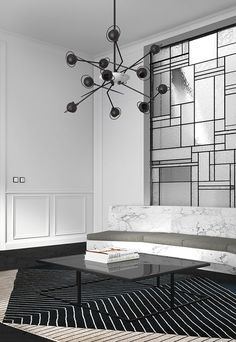 "madabout-interior-design: "" A very sophisticated apartment in Barcelona, designed by Katty Schiebeck, who combines the inspiration of Art Deco with the contemporary architecture. Classic Interior, Modern Interior, Interior And Exterior, Contemporary Architecture, Interior Architecture, Contemporary Art, Art Deco, Black And White Interior, Black White"