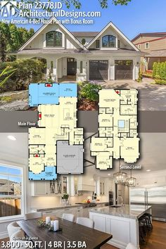 Architectural Designs New American House Plan 23778JD gives you 4 bedrooms, 3.5 baths and 3,800+ sq. ft. Ready when you are! Where do YOU want to build? #23778JD #newamerica #adhouseplans #architecturaldesigns #houseplans #architecture #newhome #newconstr