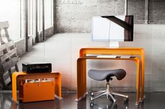 Heckler Design - nesting desk. This is a unique desk solution for small spaces.