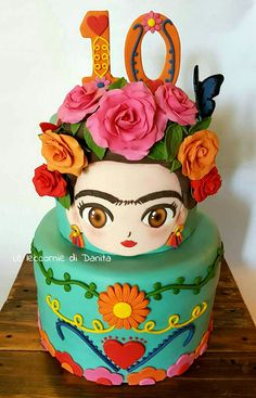 Fiesta Cake, Fiesta Party, Frida Kahlo Party Decoration, Frida Kahlo Birthday, Mexican Birthday Parties, Mexican Party Decorations, Fantasy Cake, Girly Cakes, Mom Cake