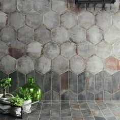 SomerTile Anticato Grigio Hex Porcelain Floor and Wall Tile sqft.) (SAMPLE-Anticato Grigio Hex), Brown – Trends Pins Home Bathroom Flooring, Kitchen Flooring, Kitchen Tile, Bathroom Wall Tiles, Hexagon Tile Bathroom Floor, Bathroom Canvas, Farmhouse Flooring, Downstairs Bathroom, Kitchen Design