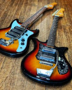 Imported from Japan in the 1960s, Teisco guitars have a very cool vintage style and are loaded with unique features. We recently got these two in, a Teisco Del Rey ET-311 (left), and a Teisco Del Rey ET200N (right). They could use a little bit of TLC, and if you're so inclined you can grab them now at a good price. More information at elderly.com.