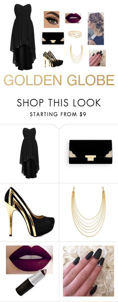 """""""Black and Gold for the GG's"""" by sydneyharrell ❤ liked on Polyvore featuring TFNC, TaylorSays, White House Black Market and River Island"""
