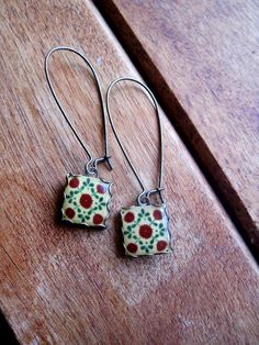 Shrunken Cat Heads Mexican Talavera tile drop earrings