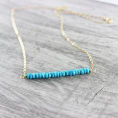 Turquoise Gemstone Gold Bar Necklace