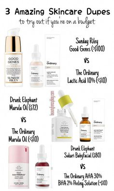 The Dupe List : 10 Affordable Alternatives To Your Favourite High End Products! - Beauty Frenzy Sunday Riley Good Genes Dupe , Drunk Elephant Sukari BabyFacial Dupe , Drunk Elephant Baby Facial Dupe, Drunk Elephant Marula Oil Dupe , The Ordinary Dupes Dupe Makeup, Skincare Dupes, Image Skincare, Skincare Logo, Beauty Blender, The Ordinary Dupes, The Ordinary Marula Oil, Beauty Skin, Sephora Makeup