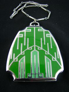 Art Deco compact on  chain