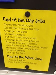 Do end of day jobs, checklist and give specific jobs for each student. using board maker work systems