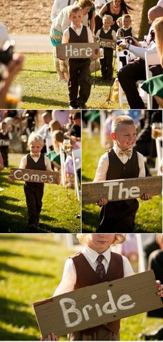 """Here comes the bride"" signs for little guys to carry. SO CUTE. via @Karen Darling Me Pretty"