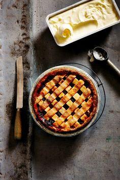 ... rhubarb & cherry lattice pie with salted yoghurt ice-cream ...