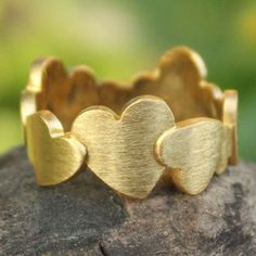 NOVICA Heart Shaped Gold Plated Band Ring