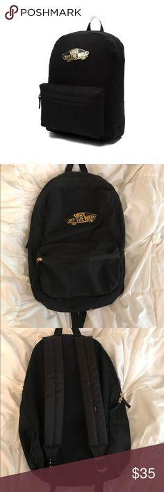 vans black and gold backpack