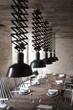 Host Restaurant (Private Dining Room) BY Norm Architects ( Denmark) Deco Luminaire, Luminaire Design, Design Industrial, Industrial Interiors, Industrial Lighting, Industrial Dining, Modern Industrial, Vintage Industrial, Industrial Furniture