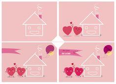 << Illustration >> Wacom Tablet & Illustrator cs6 #illustration #illustrator #adobe #graphic #wacom #hearts #house #pink