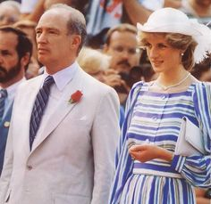 June 20, 1983: Princess Diana with Canadian Prime Minister Pierre Trudeau during an arrival ceremony in Ottawa, Canada. (Day 7)