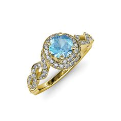 Birthstone Jewelry - Blue Topaz HOLIDAYS SALE - 75% OFF Retail #Halo #engagementring #love #gift #trijewels #christmas