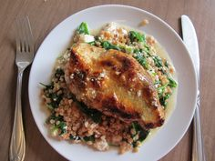 Chicken with Israeli Couscous, Spinach and Feta