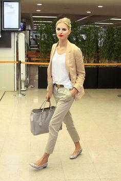 I want this outfit! Khaki pants + white tank + blazer + flats = simple chic