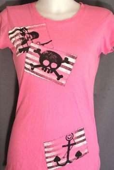 M~Pink Skull Anchor Graphic Print Tshirt Top~Retro~Rockabilly~Punk~Gothic~Tattoo #NextLevelApparel #GraphicPrintTeeTop #Casual