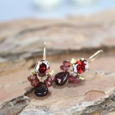 Gemstone Drop Earrings Sterling Silver Red Garnet Earrings Birthday  Christmas Gift For Her January Birthstone Jewellery