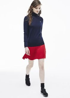Flared skirt in wool piqué