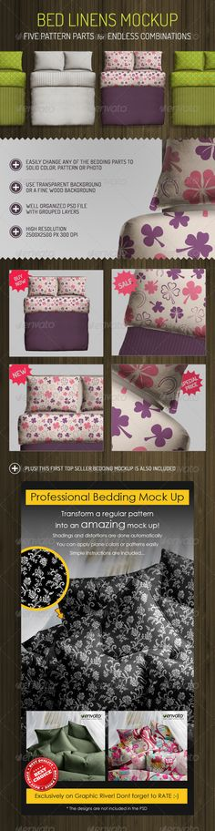 Bed Linens Mock Up - Bedding Set Template - design display for #homedecor #productdisplay -