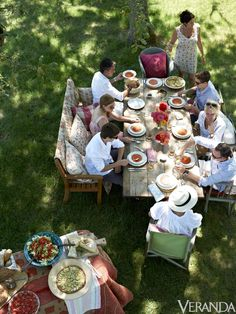 """For truly stress-free entertaining, let the guests decide where they're sitting. """"It's easy to obsess over those details; that's not my style,"""" Ireland says. """"Just let people mingle and see what happens. It's more interesting that way.""""   - Veranda.com"""