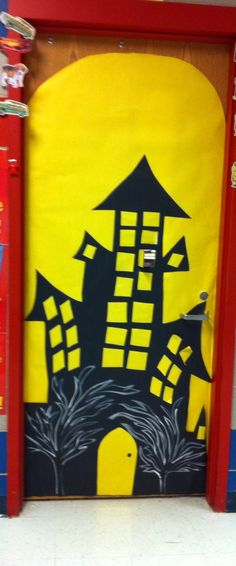 Haunted house. October door decoration