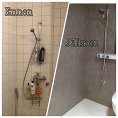 Kylpyhuoneen upea muutos on toteutettu mikrosementillä. Home Deco, Home And Living, Haku, Bathtub, Bathroom, Diy, Google, Decor, Style