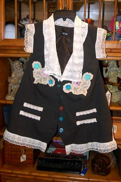 Plus Size 2X-3X Charcoal Vest embellished refashioned upcycled boho romantic lace by RestyledBohoPlus on Etsy