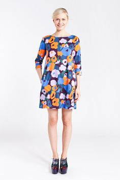 Apparel: Marimekko Siopa dress in blue, turquoise, orange | Marimekko Store