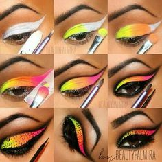 Acirc Yen Acirc Yen Acirc Middot Amma Make Up Colorful Eye Makeup Carnival Makeup Makeup - halloween eye makeup Sleek Makeup Highlighter, Bold Eye Makeup, Colorful Eye Makeup, Simple Makeup, Eyeshadow Makeup, Eyeshadow Pigments, Halloween Eye Makeup, Halloween Eyes, Palette