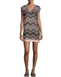Cap-Sleeve Mesh Lurex® Mini Dress, Blush - M Missoni
