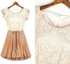 Occident Style Scoop Neck Lace Splicing Short Sleeve Women's Dress