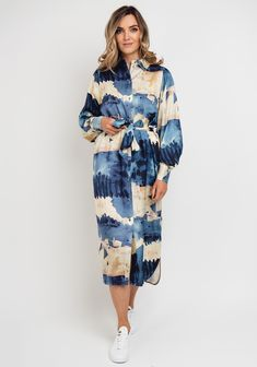 Abstract Print, Printed Shirts, Blue Dresses, Shirt Dress, Trends, Sleeves, Fashion, Dress, Moda
