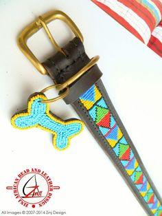 Hand Made Beaded Leather Dog Collar  SAMBURU BLUE by ZinjDesign, $32.95