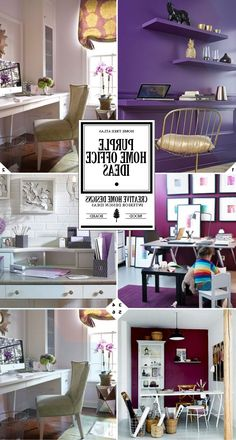 Purple home office decor ideas and design tips (Favorite Spaces Home Office) Purple Home Offices, Purple Office, Turquoise Office, Home Office Design, Home Office Decor, House Design, Office Ideas, Office Table, Bar Furniture