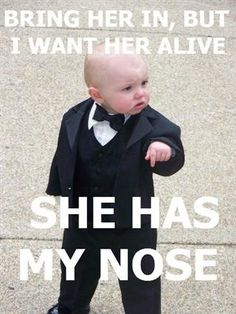 My future child? Pfftt I hated when adults did that. Why are you touching my face?? #soprano #tuxedo #funny #kids #bald