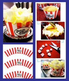 Popcorn Cupcakes: Popcorn Cupcakes  Ingredients/Supplies:  - vanilla cupcakes (recipe here)  - vanilla buttercream frosting (recipe here)  - popcorn wrappers (template below)  - ~3 cups mini marshmallows (covers ~ 12 large cupcakes)  - Wilton Color Mist, yellow (optional)  + sterile scissors; comes with PDF for cupcake border
