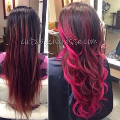 Color By Charesse - Seattle, WA, United States. signature balayage/ombré in hot pink Hot Pink Hair, Hair Color Pink, Hair Color And Cut, Cool Hair Color, Purple Hair, Ombre Hair, Pinterest Hair, Dye My Hair, Hair Affair