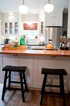 Snack bar area in kitchen of Restored Style Blog.