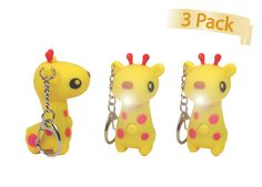 | Pack of 3 Giraffe Key Chains w/ Giraffe Sounds & Flashlight | Cute Flashlight to have When Using Your Keys at Night! Just Press the Button & Watch it Light Up & Make a Giraffe Sound! Makes Great Party Favors! Great for Birthday Parties & Celebrations! Teach your kids about animals! Makes a Great Addition to your Key-Chain Collection! Seller Merchant Mike - 30 Days Money Back Satisfaction Guaranteed