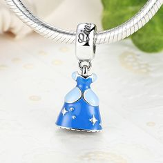 925 Sterling Silver Jewelry Cinderella Dress Dangle Pendant with Blue Enamel