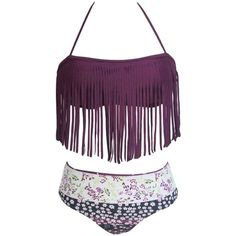 Women's Dark Purple Halter Fringed Floral Printed Bikini Swimsuit (21 CAD) ❤ liked on Polyvore featuring swimwear, bikinis, dark purple, underwire bra, floral bikini, fringe swimsuit, underwire halter bikini and bikini bathing suits